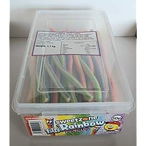 sweetzone fizzy rainbow pencils (pack of 100) hmc approved 100% halal SWEETZONE Fizzy Rainbow Pencils (Pack of 100) HMC Approved 100% Halal 41OvHJGV1oL