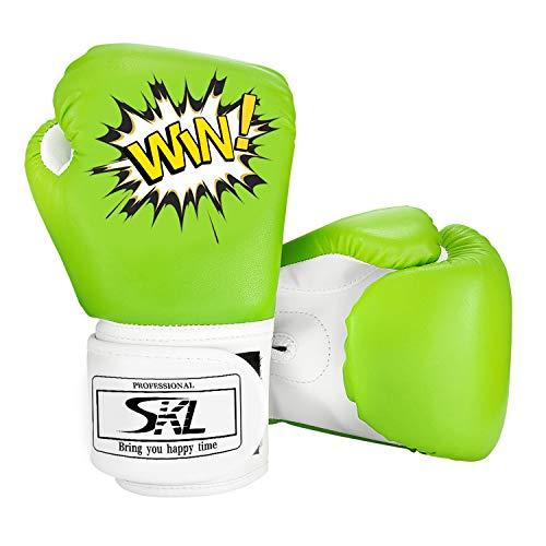 SKL Kinder Boxhandschuhe, Pu Kids Boxing Gloves Kinder Cartoon Sparring Boxhandschuhe Training Alter 5-12 Jahre (Grün)