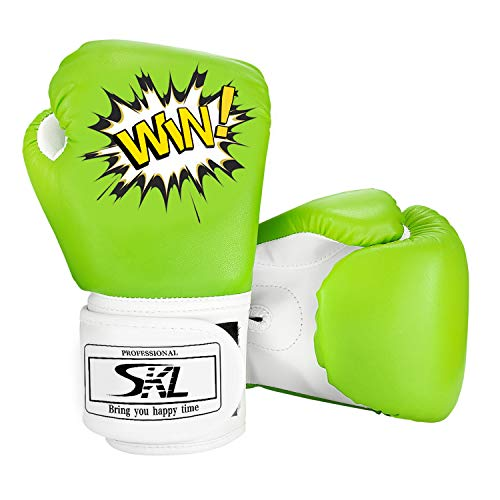 SKL Kinder Boxhandschuhe, Pu Kids Boxing Gloves Kinder Cartoon Sparring Boxhandschuhe Training Alter 5-12 Jahre (Grün)