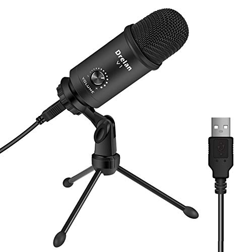 Price comparison product image USB Microphone,  Condenser desktop Computer Mic 192KHZ / 24BIT Plug & Play with Professional Sound Chipset,  for PC Voice Recording, Podcasting, Skype, YouTube, Games, Google Voice Search