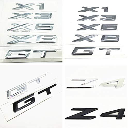 XHULIWQ Auto 3D Metall Chrom Emblem, Für BMW 3 5er GT X1 X3 X5 X6 Z4, Auto Außenaufkleber Abzeichen Abziehbilder Zubehör Dekoration