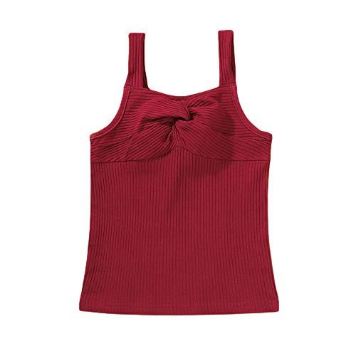 LUCSUN Camiseta de tirantes para niña, color sólido acanalado, sin mangas, blusa para niños