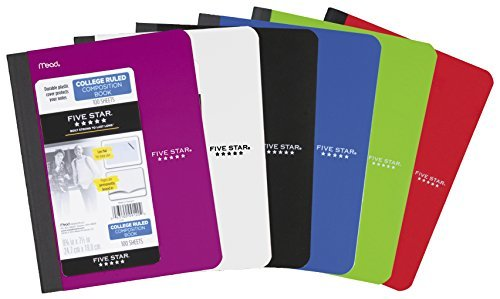 Five Star Composition Notebooks, College Ruled Comp Book, Writing Journal, Lined Paper, Home School Supplies for College Students & K-12, 100 Sheets, 9-3/4