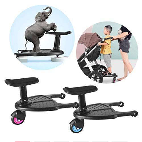 Kinderständer Board mit Sitz, Mini Geländefahrzeug Board, beweglich und montiert, stark belastbar, doppellagig fest, geeignet für Kinderwagen, Trolleys (Blau)