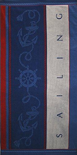Betz Toalla de Playa de Terciopelo Toalla de baño XXL 100% algodón tamaño 75x150 cm diseño Sailing de Color Azul