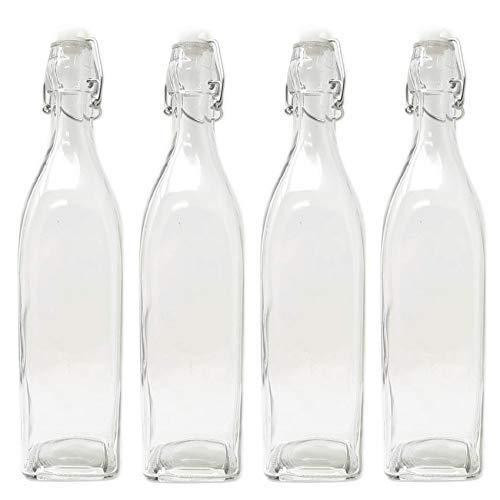 Juego de 4 botellas de cristal de estilo italiano de 33 onzas
