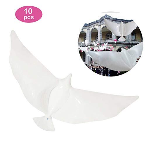 Kylewo 10ST Schutzhülle Peace Dove Ballons, Weiße Taube Ballon Luftballons Weiß Pigeon Ballon Latex Ballons für Hochzeit und Geburtstag Valentinstag