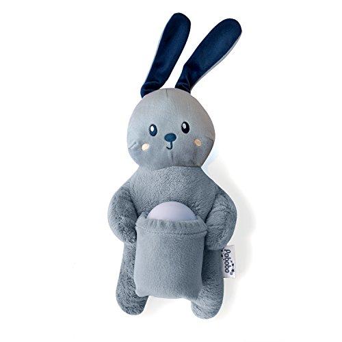 Pabobo – Peluche Lapin + Veilleuse Nomade – Coffret Cadeau – LED à Lumière Douce pour Bébé et Enfants – Rechargeable - Bleu