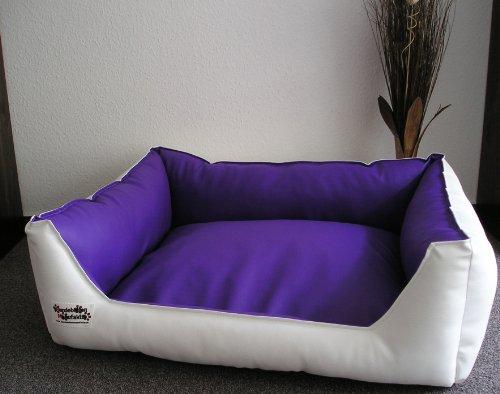 Hundebett Hundesofa Schlafplatz Kunstleder Acceso Farbe und Größe wählbar von XS bis XXL (50 cm X 40 cm, Weiss lila)
