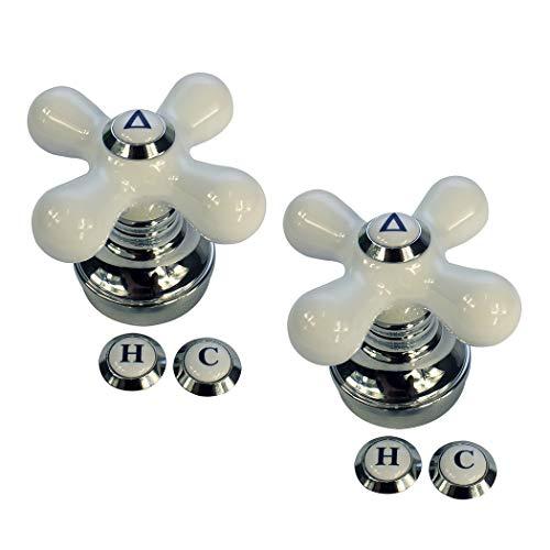 Danco 46004P I Cross-Arm Tub Shower & Sink Faucet Handle   Fits 2-3 Handle Faucets   White Porcelain & Chrome   2 Pack