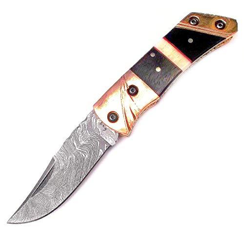 Laguiole Artisan 'Persiana'. Damscus Stahl handgemachtes Falttaschen Messer. fester Messing-Rücken, schwarz & weißer kamelknochen. Schöne Verarbeitung. SSD-60787
