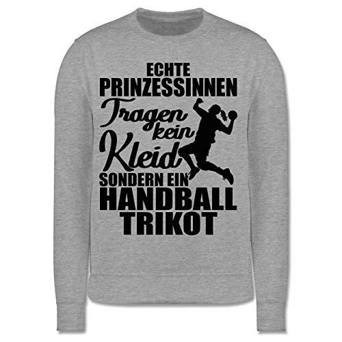 Sport Kind - Echte Prinzessinnen tragen kein Kleid sondern EIN Handball Trikot - schwarz - 152 (12/13 Jahre) - Grau meliert - Geschenk - JH030K - Kinder Pullover