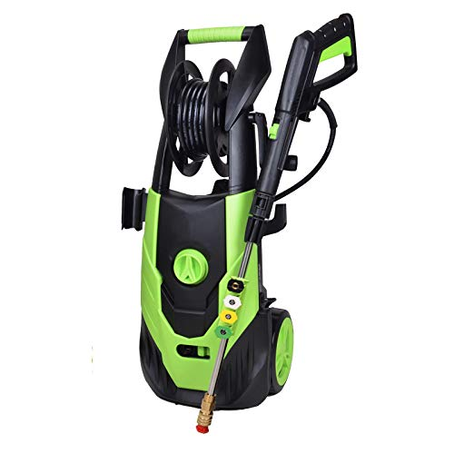 PowRyte Elite Washer,4500PSI 3.5GPM Electric Pressure Washer with Hose Reel,Electric Power Washer with 5 Quick-Connect Spray Tips and Wand,Car Washer (Green)