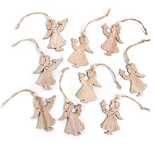 12 piccoli ciondoli per natale a forma di angelo in legno naturale marrone 7,5 cm, tromba con filo...