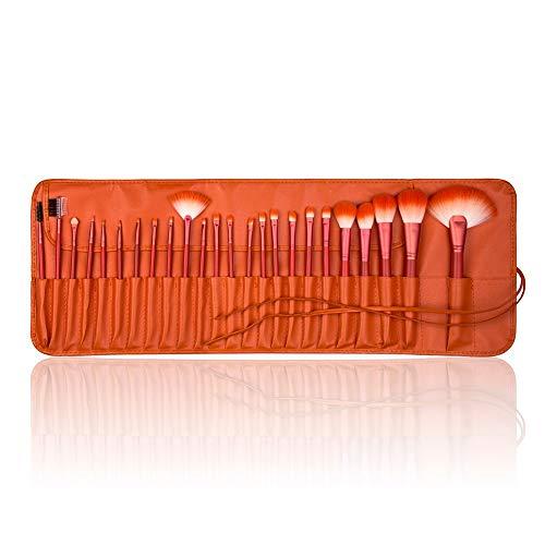 MEIYY Pinceau De Maquillage 24Pcs + Sac Orange Fessionnel Pinceaux À Maquillage Et Outils Fondation Pinceau Poudre Sourcils Pinceau Fard À Paupières Applicateur Beauté Kit