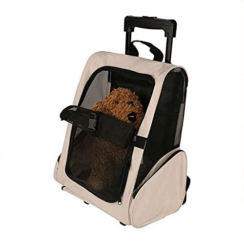 JIEPPTO Zaino Valigia da Pet Trolley con Ruote, Traspirante, Portatile Quando Si Esce, Adatta per Cani E Gatti sotto I 15 kg, Forniture per Animali Domestici