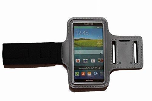 Grau M Sport Armband Schutz Hülle für Samsung Galaxy S5 und Grand Prime in Grau Case veränderbarer Länge, für Rennen, Workout, Wandern, Fitness und Laufen mit Kopfhöreranschluss aus Neopren - Dealbude24