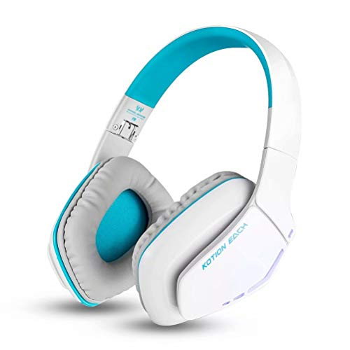 CSZH Casque de jeu sans fil Bluetooth Headban Casque avec micro Écouteurs avec une qualité de son améliorée et une meilleure égalisation pour iPhone, téléphone intelligent Samsung (blanc bleu)