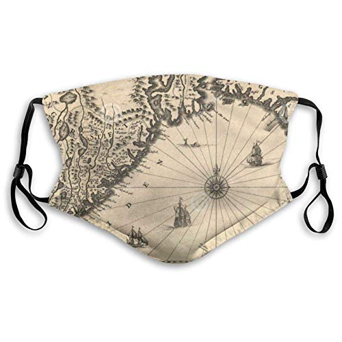 Cotton Dust Face Mask| Ancient Map Personalized With 2 Filters, Washable Bandanna Mask Scarf Small Gifts For Family, Lov