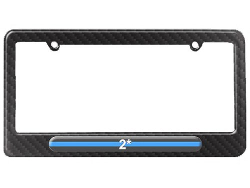 Graphics and More Thin Blue Line 2 Two Asterisk K-9 Unit - Police License Plate Tag Frame - Carbon Fiber Patterned Finish