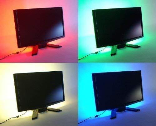 Led-achtergrondverlichting met kleurwisseling, RGB-wandverlichting voor tv, set van 5 V USB-aansluiting (incl. 4 x 50 cm LED-strips, draadloze RF-controller) – ideaal voor keuken, sokkellampen, onder kasten