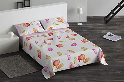 Burrito Blanco Juego de Sábanas 093 con Diseño de Hojas Acuareladas Algodón para Cama Individual de 90x190 hasta 90x200 cm/Juego de Cama 90, Color Rosa