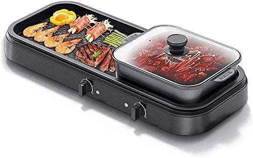 Parrilla eléctrica portátil, Parrilla eléctrica portátil Pote caliente interior, Parrilla multifuncional de Teppanyaki / olla de shabu con divisor separado Doble temperatura contral, capacidad para pe