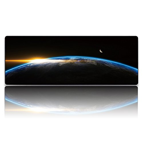 KINPLE XXL Extended Large Gaming Mouse Pad Non-Slip Water-Resistant Rubber Cloth Computer Game Mouse Mat(35.4×15.75×0.1 inch Earth)