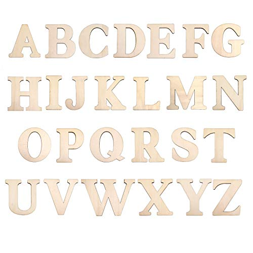 """3"""" Wooden Letters - 78 Pcs Wood Letters for Crafts Unfinished Wood Alphabet for Letter Board/Wall Decor/DIY/Painted/Educational (3 inch) Home Wall Decoration"""