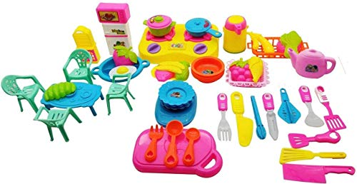 Amitasha Realistic Play Kitchen Toy with Gas Stove, Knifes, Plates and Cutting-Board for Kids (Multicolour)