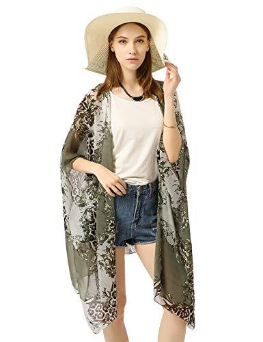 W.Best Femmes Kimono Mousseline de Soie Plage Cardigan Été Maillot de Bain Cache-Maillots de Bikini Cover Up Outwear, M-105*70cm-greenflower, Taille unique