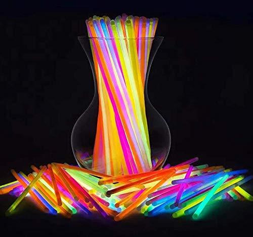 50 Batons Lumineux Bracelets et connecteurs - Brillant bandes de poignet Pailles pour Dance, Rave ou petits cadeaux - Multicolore