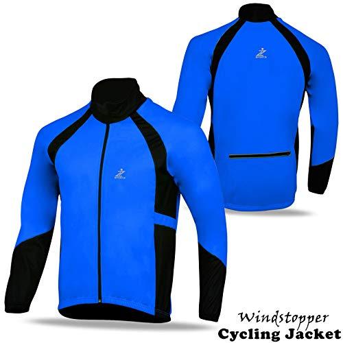 Z Sports Chaqueta de Ciclismo Cortavientos de Forro Polar térmico de Manga Larga para Invierno, Hombre, Color Fluorescente, tamaño Large