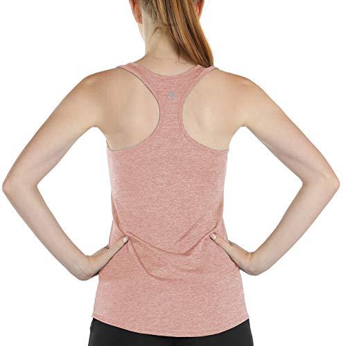 icyzone Damen Sport Tank Top mit BH - Yoga Gym Shirts Racerback Fitness Oberteile (L, Blasses pink)