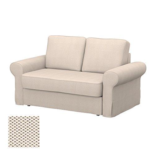 Soferia - IKEA BACKABRO Funda para sofá Cama de 2 plazas, Nordic Creme