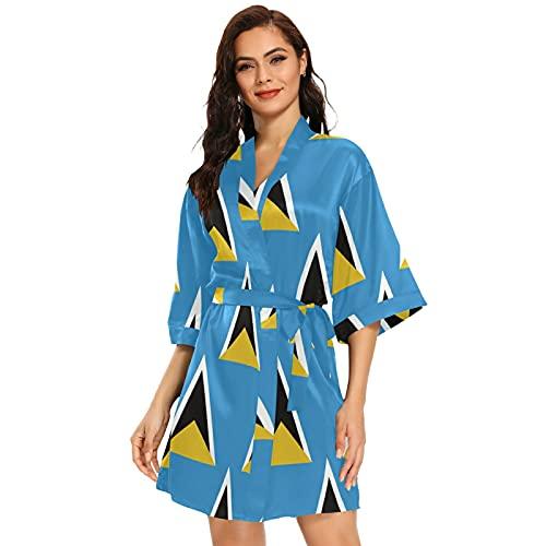 Kurzer Kimono-Bademantel mit der Flagge von Saint Lucia, für Damen, multi, 46