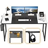 Cubiker Computer Home Office Desk 55' Study Writing Table for Home Office, Modern Simple Style PC Desk with Splice Board, Black Metal Frame, Black and White