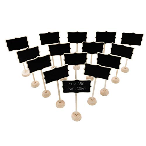 15 Pack Wood Mini Chalkboard Signs with Support Easels, Place Cards, Small Rectangle Chalkboards Blackboard for Weddings, Birthday Parties, Message Board Signs and Special Event Decorations