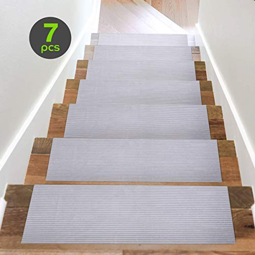 Acrabros Carpet Stair Treads Non-Slip (8.7 inch x 26 inch,Set of 7) Indoor, Heavy-Duty Safety Step Covers | Slip-Resistant Backing, No Adhesive | Soft, Light Gray Fabric | Washable and Reusable