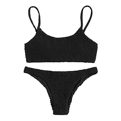 GOKOMO Einfarbiger sexy geteilter Badeanzug aus StrickFrauen Bandage Push-up gepolsterter BH Bikini Set Badeanzug Bademode Baden(Schwarz,X-Large)