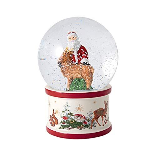 Villeroy & Boch - Christmas Toy's Santa und Hirsch Schneekugel, große Schüttelkugel mit Santa Claus aus Hartporzellan, weihnachtliche Motive, Glaskugel, bunt