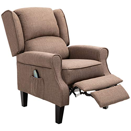 HOMCOM Heated Vibrating Linen Fabric Massage Recliner Chair...