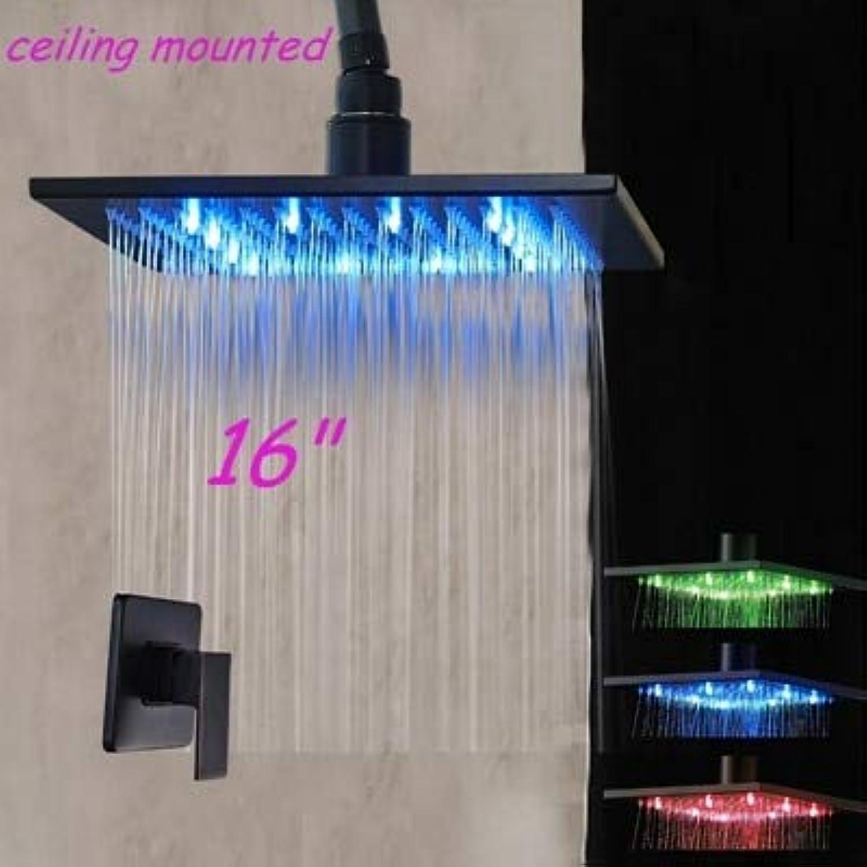 L eingeriebener LED-Duschkopf mit Deckenbefestigung aus Bronze und Brausearm aus Messing, 16