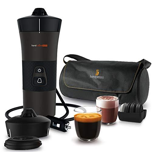 Handpresso 48312A Handcoffee Auto Reiseset 12V schwarz - tragbare Espressomaschine für gemahlenen Kaffee und Senseo®* Pads