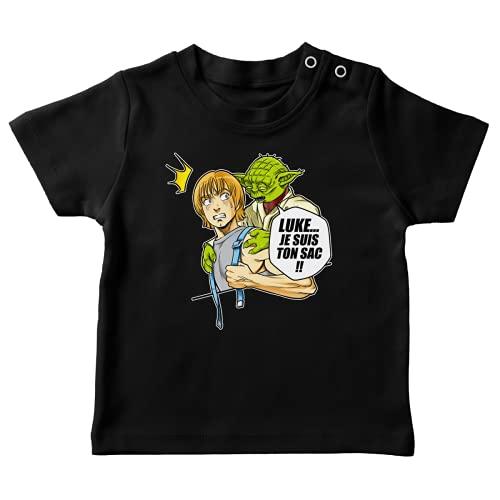 T-Shirt bébé Noir Parodie Star Wars - Yoda et Luke Skywalker - Luke. Je suis Ton Sac !! (T-Shirt de qualité Premium de Taille 18 Mois - imprimé en France)
