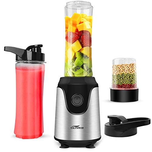 Blender for Shakes and Smoothies, Premium Smoothie Blender, Powerful Personal Blender for Ice Milkshake /Frozen Fruit Vegetable Drink, with 2pcs 20oz Juice Bottle & 3.3oz Bean Grind Cup