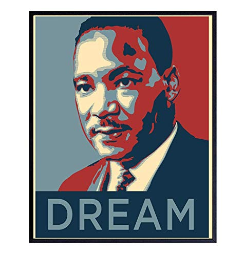 Martin Luther King Obama Wall Art - 8x10 Dream Photo Poster - Unique Home Decor or Gift - MLK, Black History Month, African American, Civil Rights, Pride, Teacher, Classroom - Unframed Picture Print