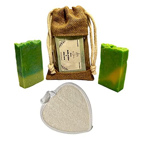 Naturel et artisanal | Savon aloe vera + Savon Jojoba avec éponge exfoliante en loofah | Lutte contre acné, Eczéma | Anti-âge | Peau fragile | Anti-inflammatoire | Régule le sébum | Homme, Femme