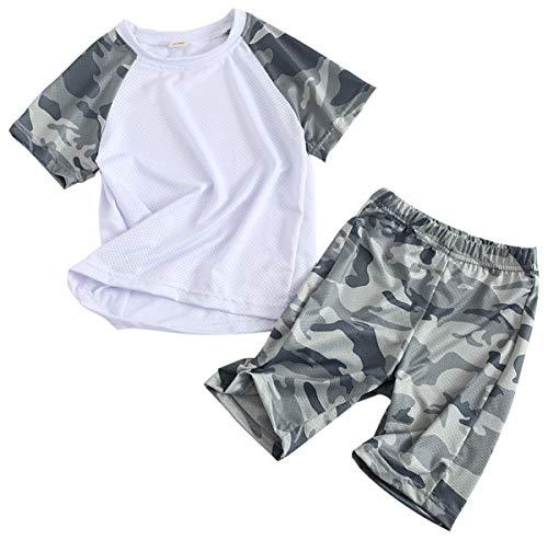 Coralup Jungen Mädchen Bekleidungssets Kinder Sport Outfit Set Camouflage Tops + Shorts 2 Stück 4 Farben 2-13 Jahre Gr. 7-8 Jahre, Gray01