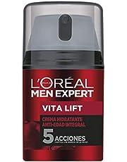 L'Oréal Men Expert crema hidratante antiedad Vita Lift, Con extracto de viña francesa, Combate 5 signos de la edad en un solo gesto, Para hombres - 50 ml